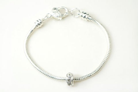 Silver Plated 20cm Snake Bracelet with One European 10mm Crystal Bead