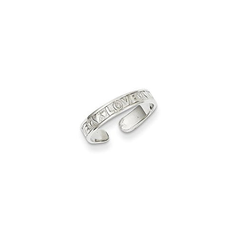 14k White Gold Polished LOVE & Hearts Toe Ring