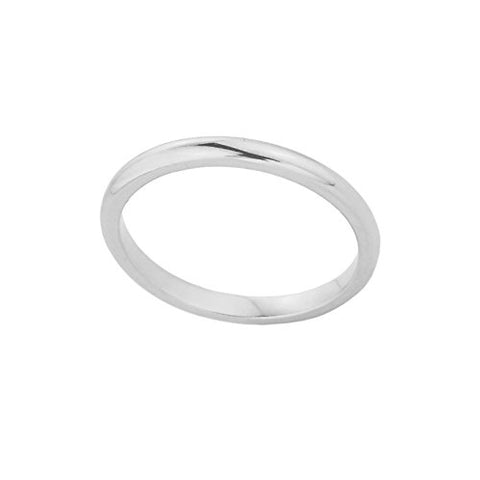 Stackable 10k White Gold Sizable Plain Toe Ring, Size 5.75