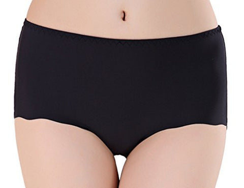 Toyobuy Women Plus Size Seamless Briefs Low Waist Thong Underwear Black XXL