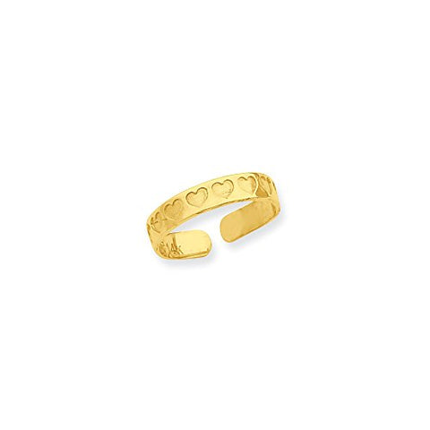 14K Yellow Gold Heart Adjustable One Size Fits All Toe Ring