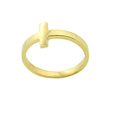 Solid 10k Yellow Gold Sizable Foot Band Sideways Cross Toe Ring, Size 7.75