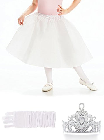 Little Adventures Silver Crown, Gloves, & Slip Princess Accessory Bundle for Girls - Large (5-7 Yrs)
