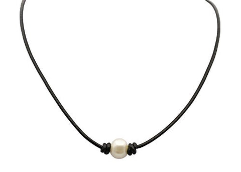 White Cultured Freshwater Pearl Choker Leather Necklace,14'',15'',16'' black necklace (14)