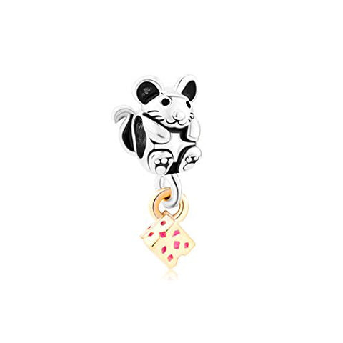 Love Greedy Cute Mouse Grabbing Golden Cheese Animal Charm Sale Cheap Jewelry Beads Fit Pandora Bracelets