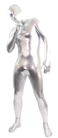 Seeksmile Unisex Zentai Full Hood Metallic Lycra Zentai Body Suit (Small, Silver)