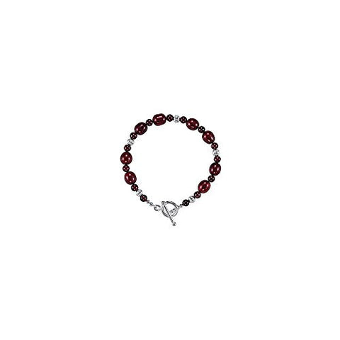 Rhodolite Garnet and Freshwater Cultured Dyed Pearl Bracelet in 925 Sterling Silver 7.50 Inch