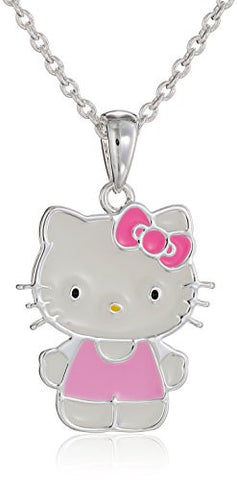 Hello Kitty Fine Silver Plated Enamel Pendant Enhancer, 18""