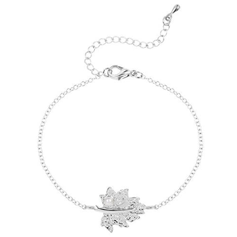 Unique Leaf with Pearl Bracelet Plating Alloy Gift Jewelry Bracelet Adjustable for Women or Girls Silver