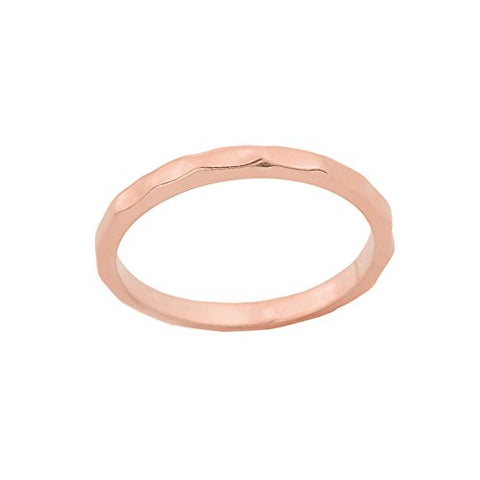 Stackable 10k Rose Gold Sizable Hammered Toe Ring, Size 7.75