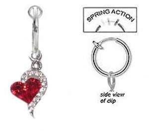 Fake Belly Navel Non Clip on Piercing Red & Cz Heart Sexy Dangle Ring