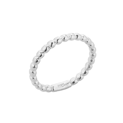 Stackable 10k White Gold Sizable Beaded Toe Ring, Size 6.75