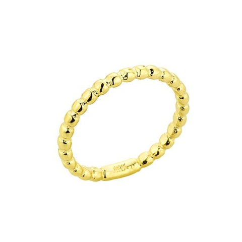 Stackable 10k Yellow Gold Sizable Beaded Toe Ring, Size 7.75