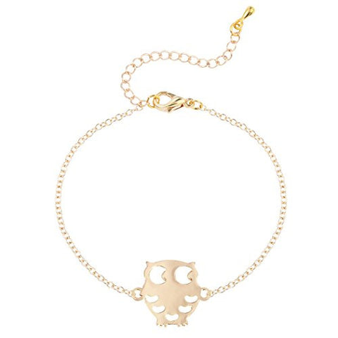 Handmade Hollow Owl Bracelet Adjustable Gift Jewelry Animal Tennis Bracelet for Unisex Gold
