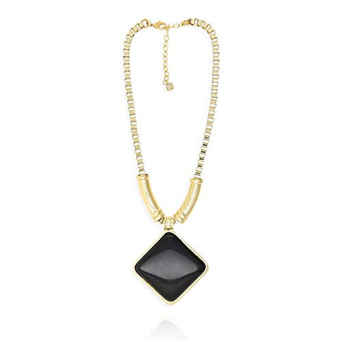 Dalla Bella Fashion Black Resin Pendant Enhancers Necklace
