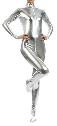 Seeksmile Unisex Metallic Lycra Front Zipper Bodysuit Zentai without Hood (Small, Silver)