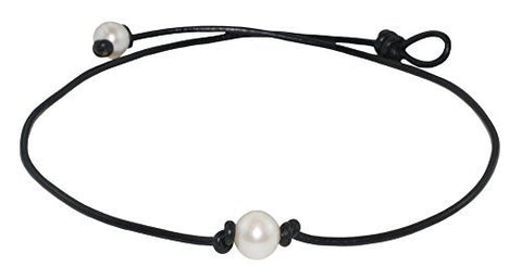High Quality Freshwater Cultured 9.5-10.5mm Single Pearl Choker Necklace on Black Leather Cord, 15""