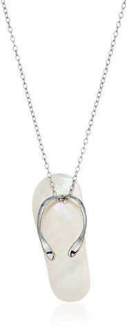 Sterling Silver Mother of Pearl Shell White Flip Flop Pendant Enhancer, 18""