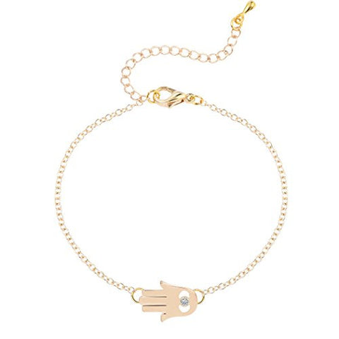 Unique CZ Hamsa Hand Evil Eye with Rhinestone Bracelet Adjustable Bangle Bracelet for Women Gold
