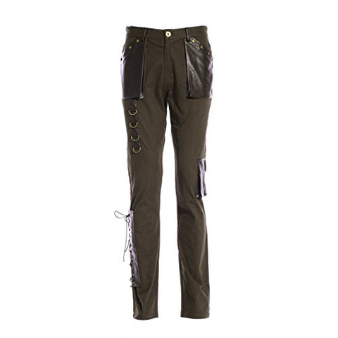 Men's Steampunk Costume Pants, Olive Green (Large)