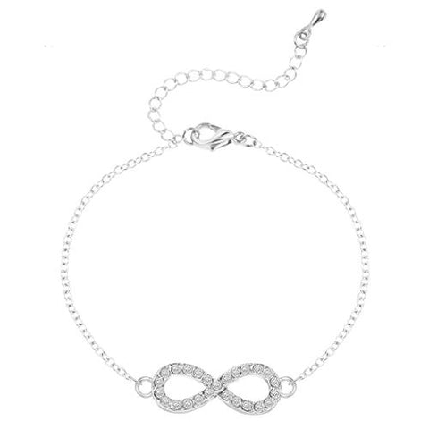 "Handmade Digital ""8"" with Rhinestones Infinity Bracelet Minimalism Jewelry Bracelet for Women Silver"