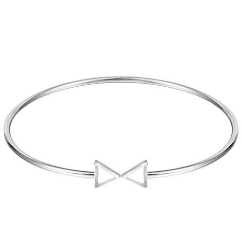 Wire Adjustable Bracelet End Triangle Bracelet Open Cuff Bangle Bracelet Silver