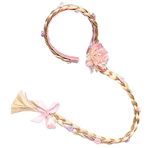 L-Peach Girls Princess Dress Up Pink Wig Hoop Braids Party Accessory