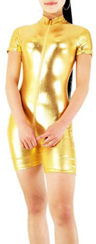 Seeksmile Unisex Shiny Color Metallic Lycra Spandex Catsuit Unitard (Small, Gold)