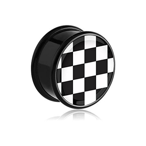 Fake Ear Plug - Checkerboard