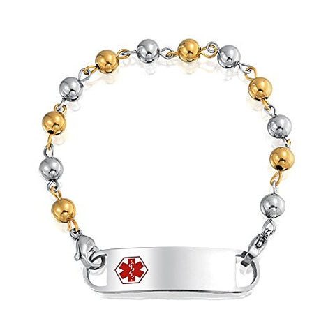 Bling Jewelry Gold Plated Steel 6mm Bead Ball Medical Alert ID Bracelet