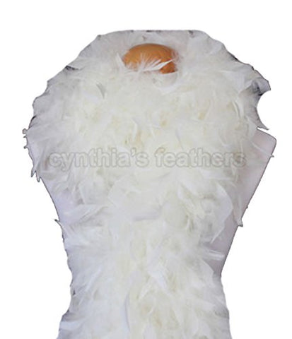 "Cynthia's Feathers 80g 72"" Turkey Chandelle Feather Boas over 30 Color & Patterns (Cream Yellow)"