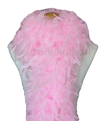 "Cynthia's Feathers 80g 72"" Turkey Chandelle Feather Boas over 30 Color & Patterns (Candy Pink)"