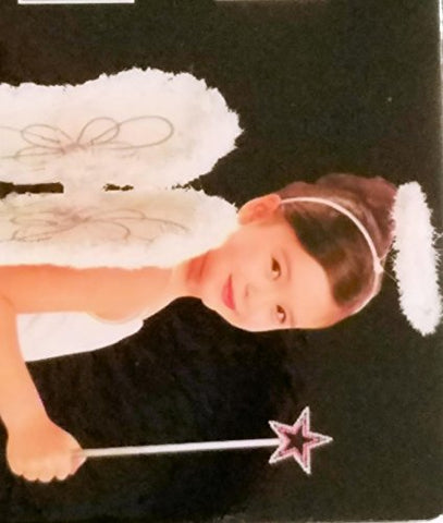 Looking Spooky Girls Fluffy Angel Wings Headband & Wand Accessory Set