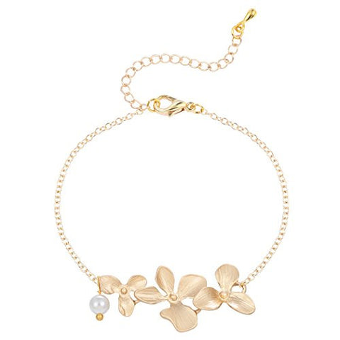Attracted Orchid Flower with Pearl Bracelet Adjustable Jewelry Tennis Bracelet for Women or Girls Gold