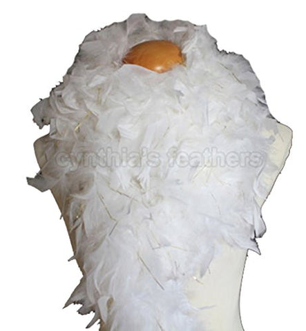 "Cynthia's Feathers 80g 72"" Turkey Chandelle Feather Boas over 30 Color & Patterns (White with Gold Tinsel)"