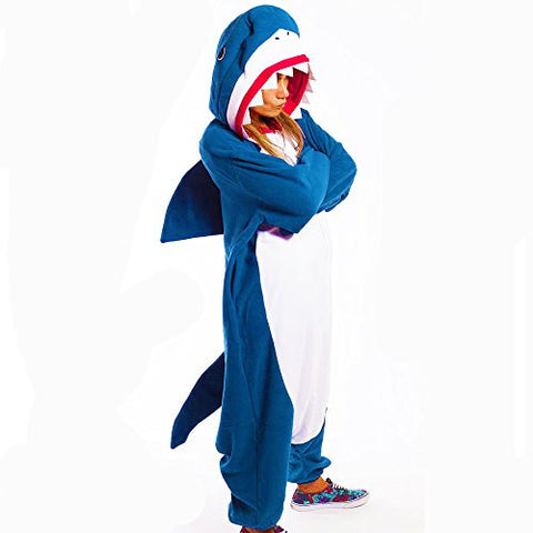 GOLECHA Blue Shark Adults Animal Kigurumi Cosplay Costume Pajamas Onesies (Small)