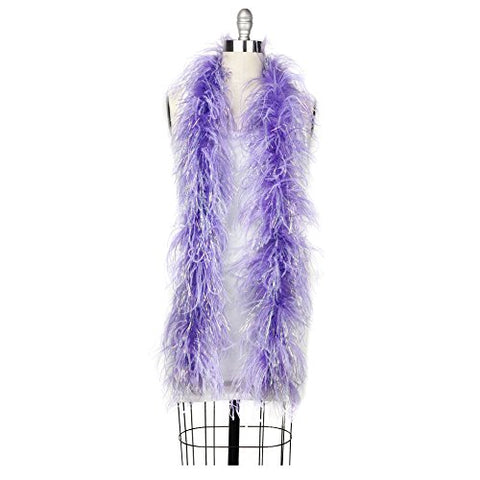 Zucker Feather Products 2-Ply Ostrich Boa, Lavender with Opal Lurex