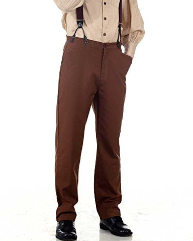 Steampunk Victorian Costume Classic Trousers Pants-Brown (small)