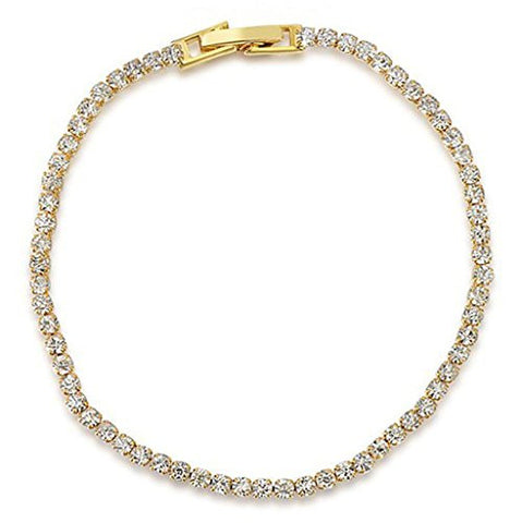 Aeici Jewelry, Yellow Gold Plated Austrian Crystal White Bracelet for Women Mother Channel Charm,18CM