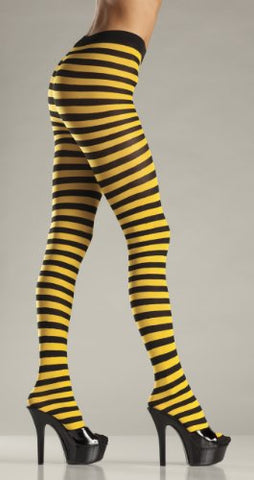Be Wicked Women's Striped Tights, Black/Yellow, One Size