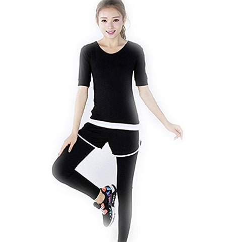 Flowerfox Athletic Shirts Pants Sports bra Suits,Women's Long sleeved Athletic Leggings Sports Top Sports Bottom (S, Black-White)