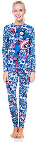 Marvel Captain America Women's Long Underwear Lounge Set Pink/Black (Large)