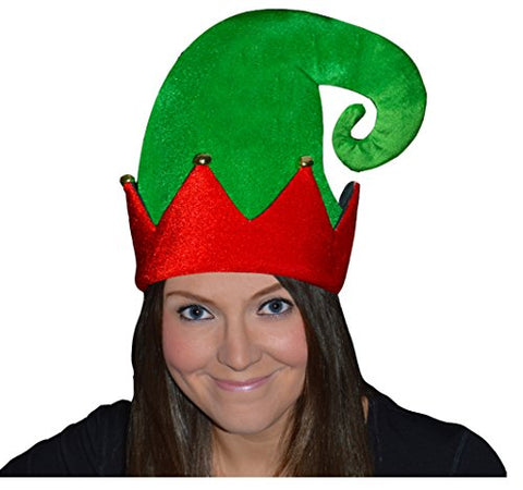 GUBA Men's Velour Elf Hat With Bells Red Xmas Party Fancy Dress Fun One Size Green