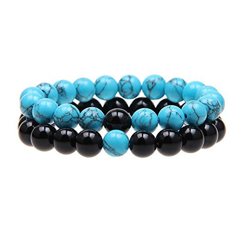 QSKS Couples His and Hers Bracelet Blue Turquoise&Black Agate Beads Distance Bracelet
