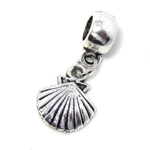 "Jewelry Monster Antique Finish Dangling ""Seashell"" Charm Bead for Snake Chain Charm Bracelet 03166"