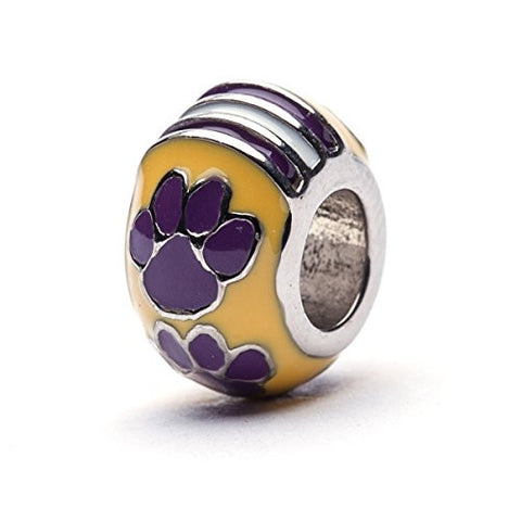 Lousiana State Tiger Paw Bead Charm - YELLOW - Fits Pandora & Others - Geaux Tigers!