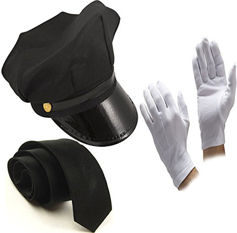 Glossy Look Men's Chauffeur Hat Tie Gloves Limo Driver Costume Accessory One Size Black