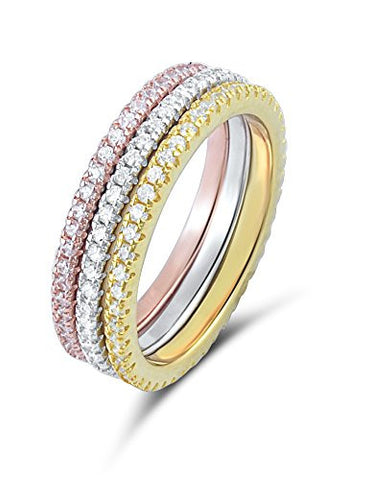 Sterling Silver Simulated Diamond Tri-Color Stackable Eternity Ring (9)