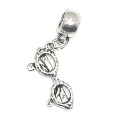 "Jewelry Monster Antique Finish ""Dangling Glasses"" Charm Bead for Snake Chain Charm Bracelet"