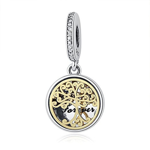 WOSTU Sterling Silver Family Forever Bead Charms Locker Pendant for Women